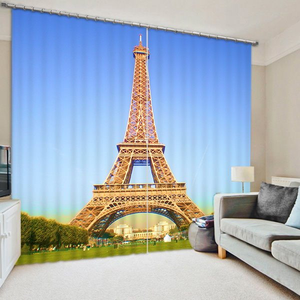 Concise Eiffel Tower Print 3D Blackout Curtain