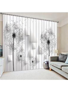 Chic Black and White Dandelions Printing 3D Curtain
