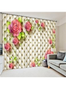 Blooming Pink Champagne Roses Print 3D Blackout Curtain
