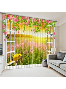 Beautiful Flower Field out of the Window Print 3D Blackout Curtain