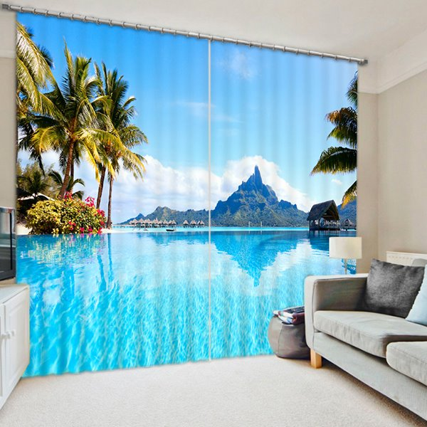 The Blue Sea and Coconut Trees Print 3D Blackout Curtain