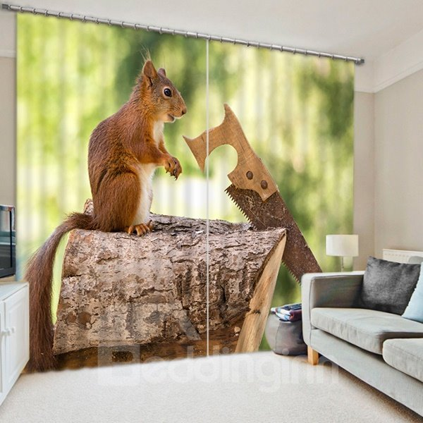 A Funny Squirrel Sawing Wood Print 3D Blackout Curtain