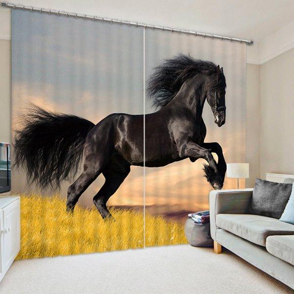 A Running Black Horse Print 3D Blackout Curtain