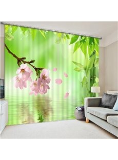 Vivid Pink Peach Flowers on the Water Print 3D Blackout Curtain