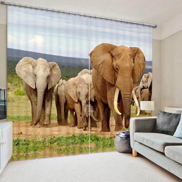 Elephants Walking in the Grasslands Print 3D Blackout Curtain