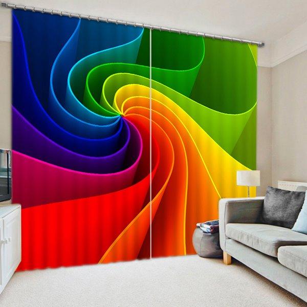Unique Design Color Eddy Print 3D Blackout Curtain