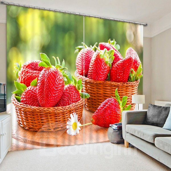 Delicious Fresh Strawberries Print 3D Blackout Curtain