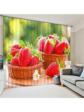 Delicious Fresh Strawberries Print 3D Blackout Curtain