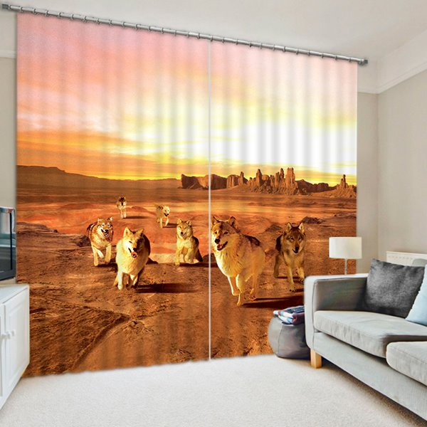 The Wolf in the Desert Print 3D Blackout Curtain