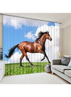 Brown Horse Running Print 3D Blackout Curtain