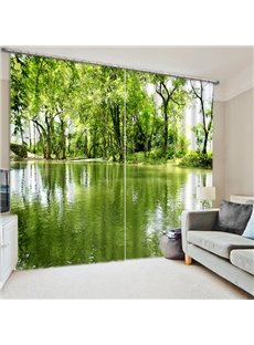 Green Trees and Shadow in the Water Printing 3D Curtain