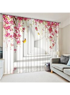Yellow Butterfly and Pink Flowers in the Hallway Print 3D Blackout Curtain