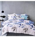 Rustic Style Blue Flower Print Cotton 4-Piece Duvet Cover Sets