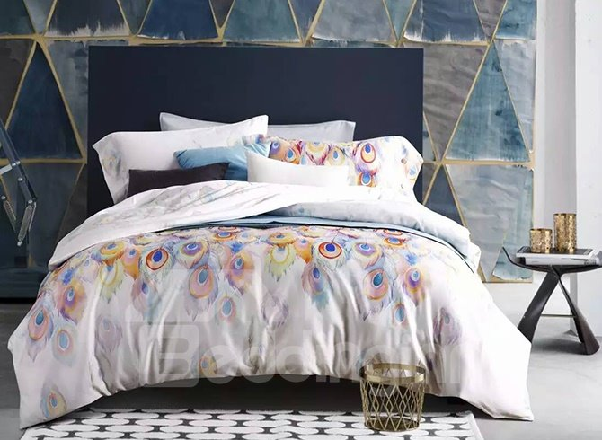 Luxury Peacock Feather Design Cotton 4-Piece Duvet Cover Sets