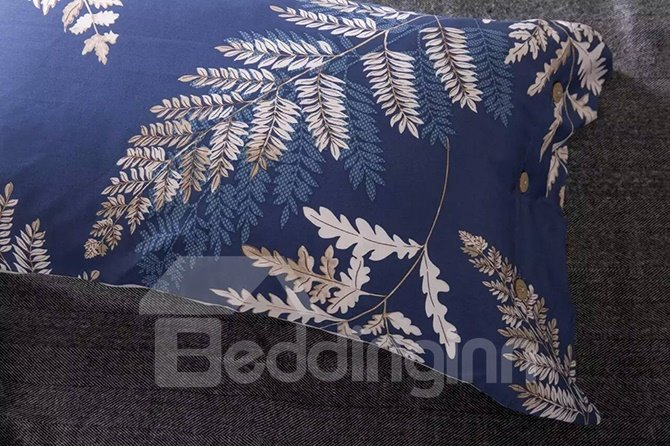 Hot Selling Creative Leaves Design Cotton 4-Piece Duvet Cover Sets