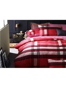 Modern Concise Red Plaid Cotton 4-Piece Duvet Cover Sets