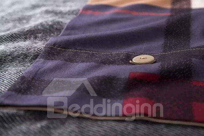 Modern Concise Red Plaid Cotton 4-Piece Duvet Cover Sets