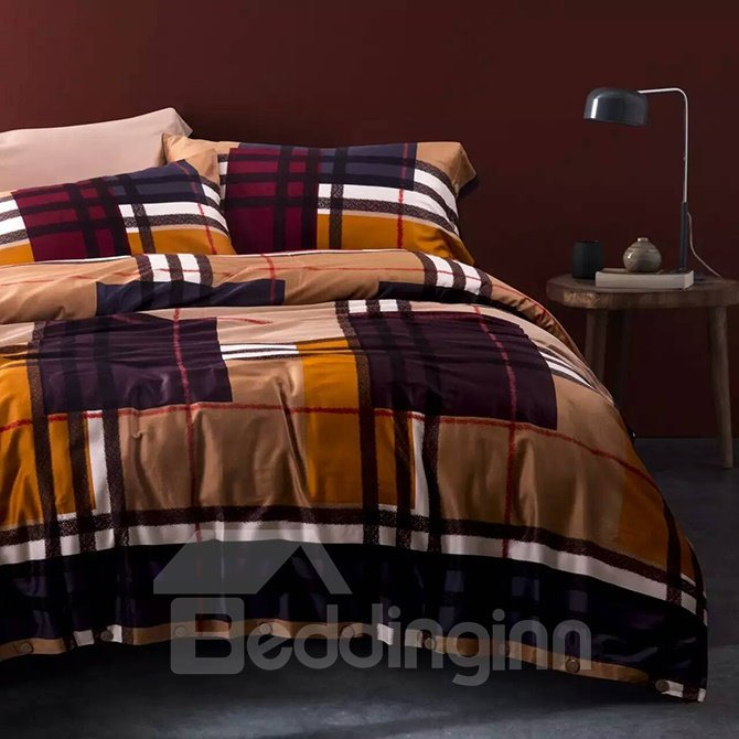 Popular Concise Brown Plaid Cotton 4-Piece Duvet Cover Sets