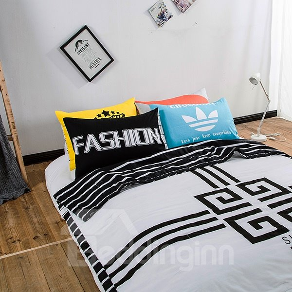 Simple Design Classic Black and White Cotton Summer Quilts