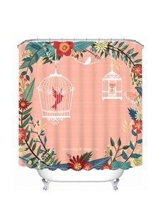 Two birds in the Cages Print Pink 3D Shower Curtain