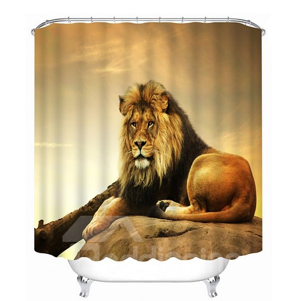 Vivid Fierce Lion Lying on the Stone Print 3D Shower Curtain