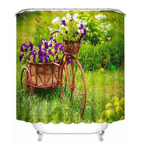 Vivid Bake full of Purple Flowers Print 3D Shower Curtain