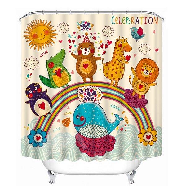 Cute Cartoon Animals Standing on the Rainbow Print 3D Shower Curtain