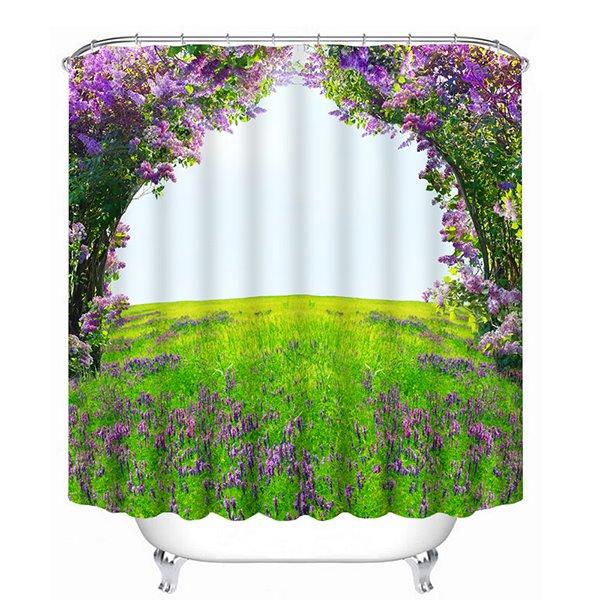High Quality Green Tree Purple Flower Print 3D Shower Curtain