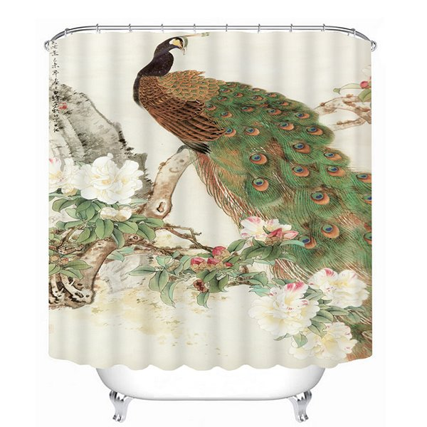 Gorgeous Peacock Standing on a Tree Print 3D Shower Curtain