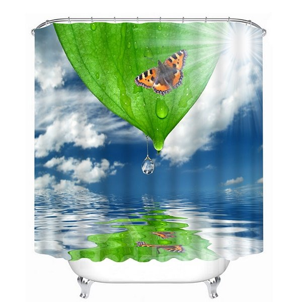 A Colorful Butterfly Setting on Dripping Green Leaf Print 3D Shower Curtain