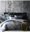 Dreamy Plum Blossom Print Blue 4-Piece Tencel Duvet Cover Sets