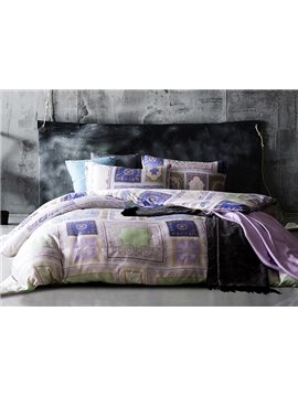 Ethnic Style Square Design 4-Piece Tencel Duvet Cover Sets