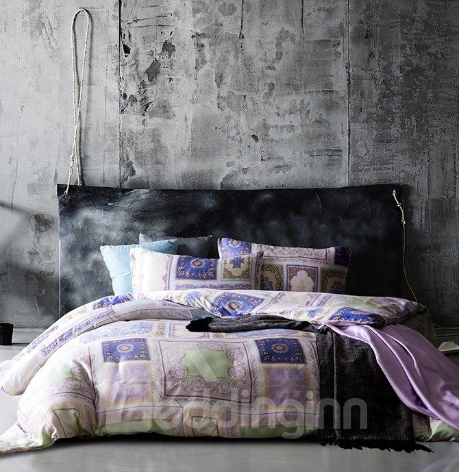 Ethnic Style Square Design 4-Piece Tencel Duvet Cover Sets