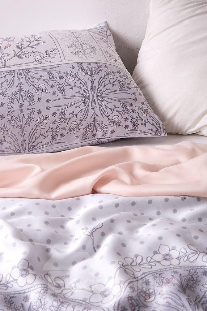 Attractive Flower Rattan Design 4-Piece Tencel Duvet Cover Sets
