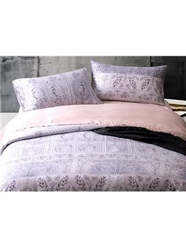 Attractive Flower Rattan Design 4-Piece Tencel Duvet Cover Sets