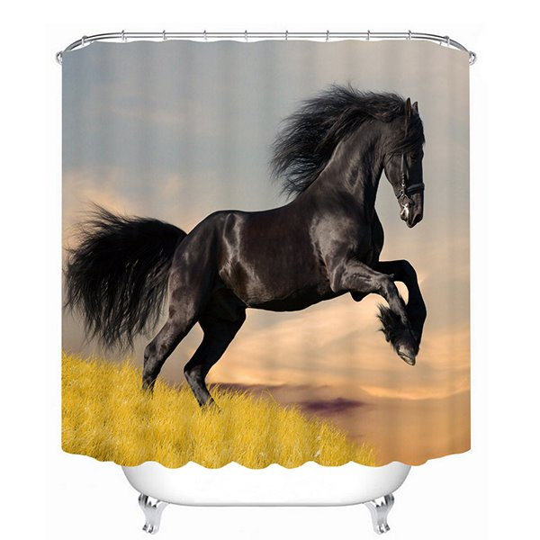 Black Horse Jumping Printing 3D Bathroom Shower Curtain