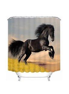 Black Horse Jumping Printing 3D Bathroom Shower Curtain