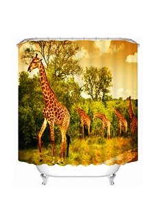 A Group of Giraffe on the Grassland Print 3D Bathroom Shower Curtain
