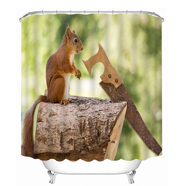 Funny Squirrel Sawing Wood Print 3D Bathroom Shower Curtain