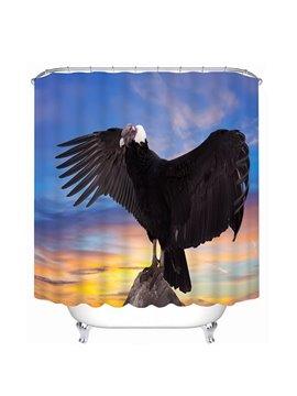 Black Eagle Spreading Wings Print 3D Bathroom Shower Curtain