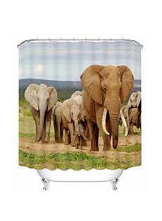 The Elephants Walking at Savannah Printing 3D Shower Curtain