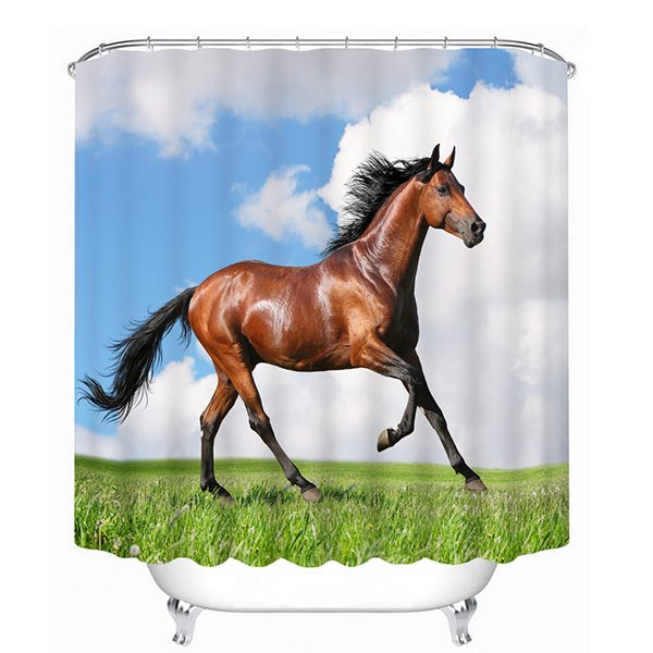 Brown Horse Running Print 3D Bathroom Shower Curtain