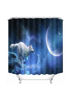 A White Wolf Running at the Moon Printing 3D Shower Curtain