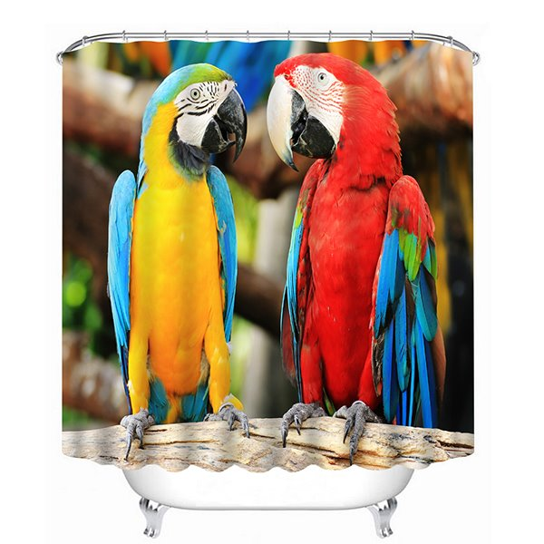 Couple Parrots Watching Each Other Print 3D Bathroom Shower Curtain