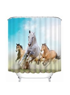 Three Running Pretty Horses Print 3D Bathroom Shower Curtain