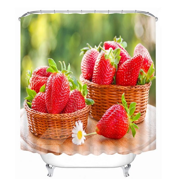 Delicious Fresh Strawberries Print 3D Bathroom Shower Curtain