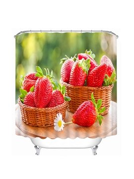 Delicious Fresh Strawberries Print 3D Bathroom Shower Curtain