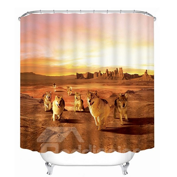 The Wolf in the Desert Print 3D Bathroom Shower Curtain