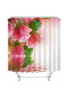 Trendy Pink Roses on the Water Print 3D Bathroom Shower Curtain