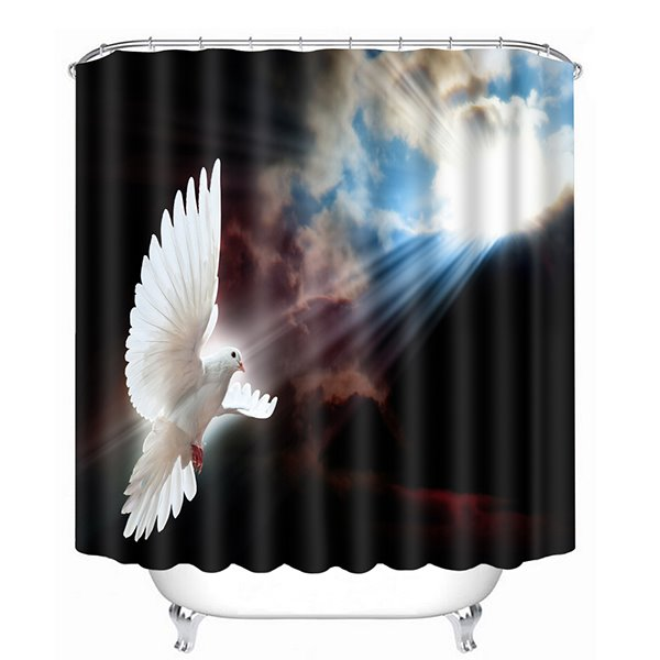 Awing Pigeon in the Cloudy Sky Print 3D Bathroom Shower Curtain